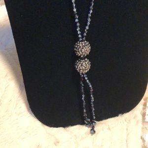 NWT Handmade Navy Fashion Beaded Tassel Necklace